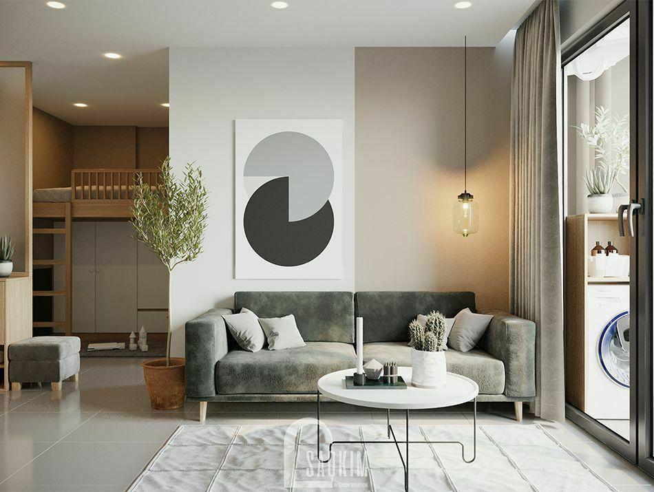 Không gian phòng khách căn hộ Vinhomes Smart City mang thiết kế phong cách Color Block