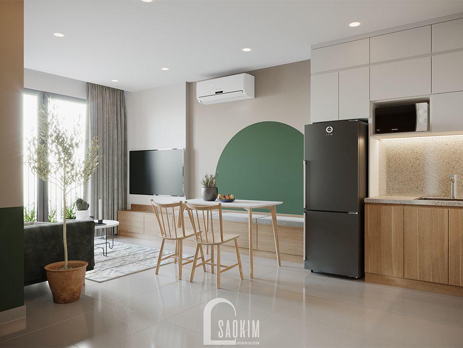 Không gian phòng ăn căn hộ Vinhomes Ocean Park phong cách Color Block