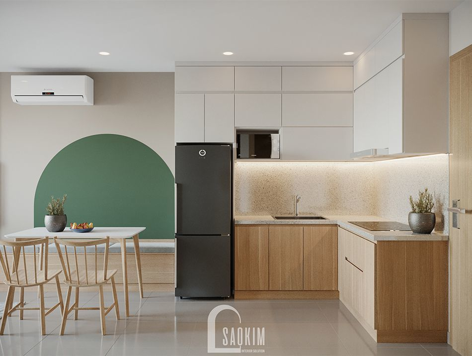 Không gian bếp căn hộ Vinhomes Ocean Park mang phong cách Color Block