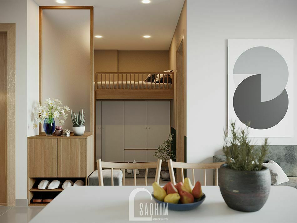 Không gian phòng đa năng mẫu căn hộ Vinhomes Ocean Park phong cách Color Block