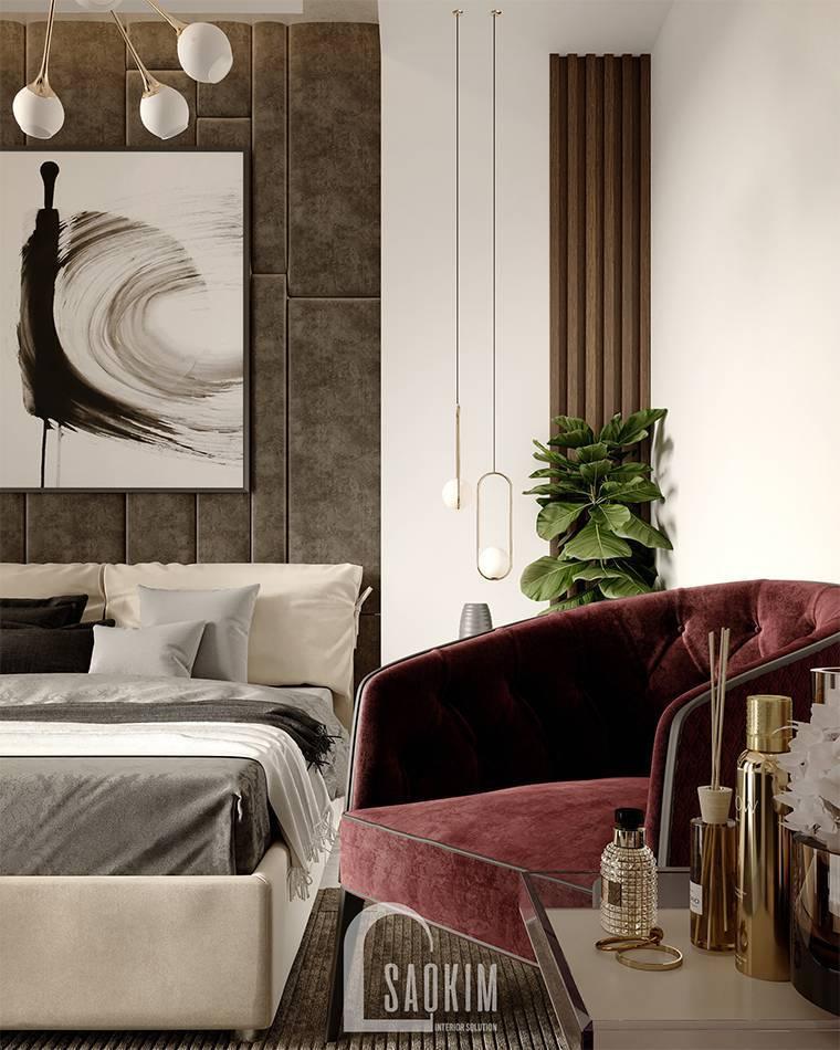 Mẫu thiết kế phòng ngủ căn hộ 62m2 Tòa tháp Thiên Niên Kỷ