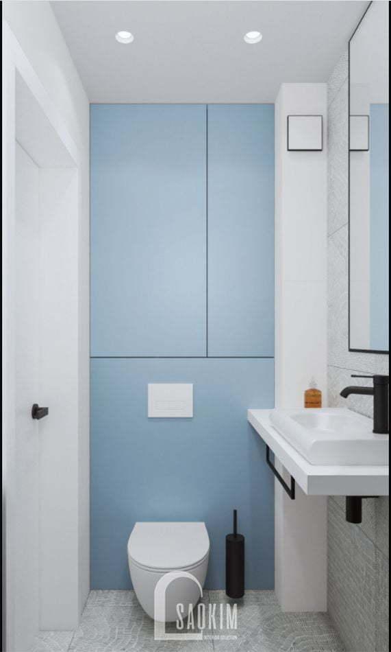 Mẫu thiết kế phòng tắm với gam màu pastel dịu nhẹ