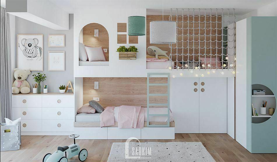Không gian phòng ngủ trong mẫu thiết kế căn hộ 71m2 Tòa tháp Thiên Niên Kỷ