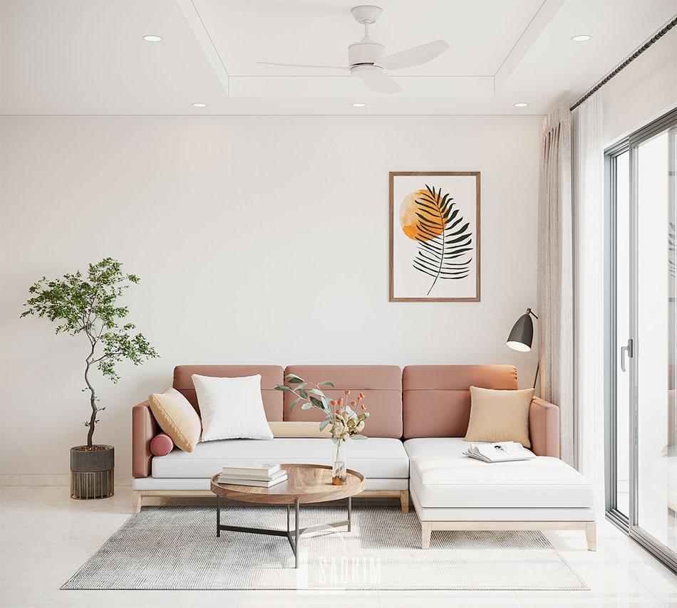 Không gian phòng khách trong mẫu thiết kế căn hộ đẹp 87m2 chung cư PCC1 Thanh Xuân