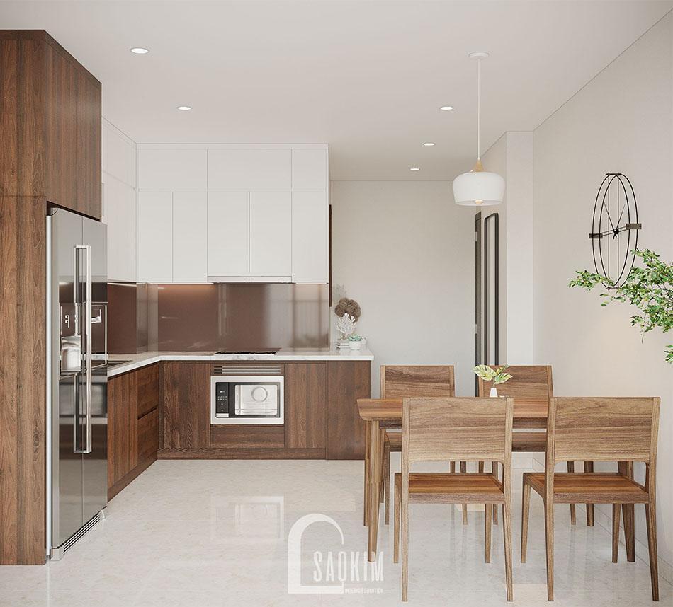 Không gian phòng ăn trong mẫu thiết kế căn hộ đẹp 87m2 chung cư PCC1 Thanh Xuân