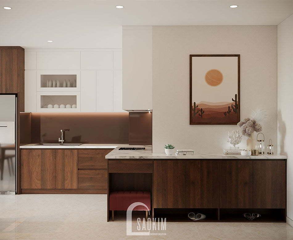 Không gian phòng bếp rộng thoáng, sạch sẽ