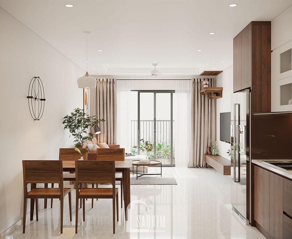 Mẫu thiết kế căn hộ đẹp 87m2 với không gian mở thoáng mát, thư giãn