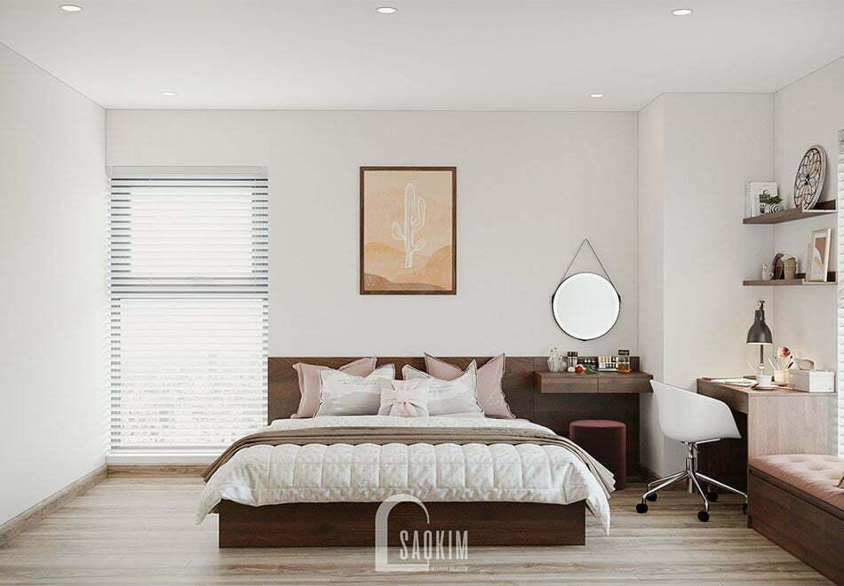 Mẫu thiết kế căn hộ đẹp 87m2 chung cư PCC1 Thanh Xuân với phòng ngủ Master nhẹ nhàng, ngọt ngào