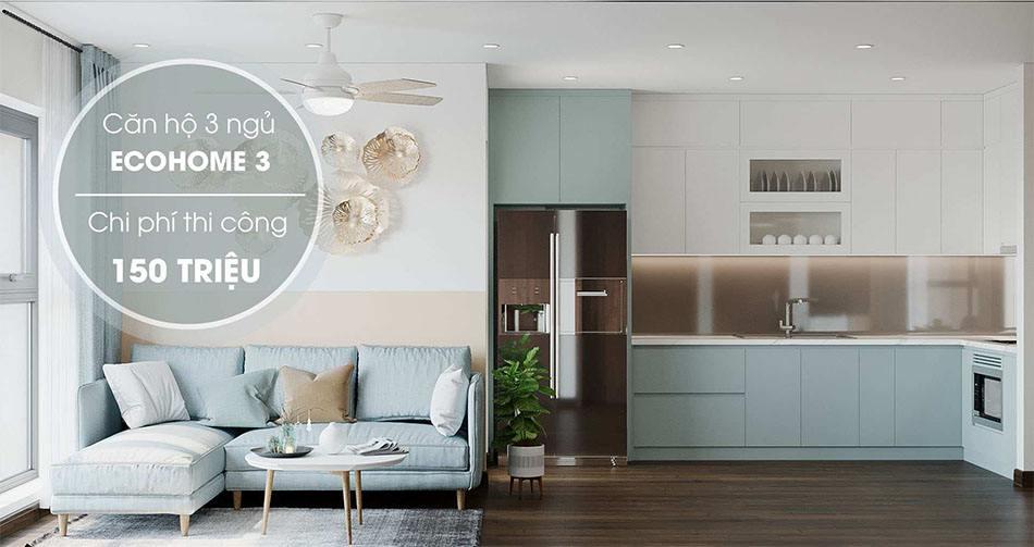 Thiết kế chung cư Eco Home 3 với chi phí thi công 150 triệu