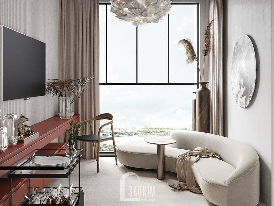 Mẫu thiết kế sofa cong mang đến nét đẹp riêng cho không gian phòng khách