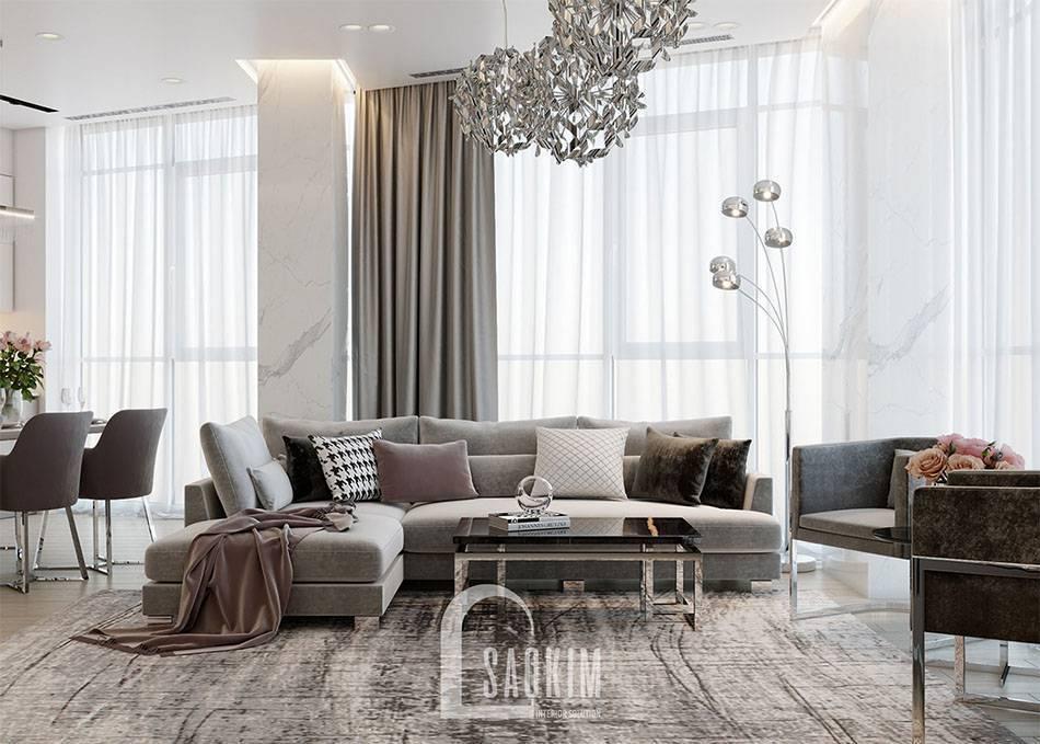 Mẫu thiết kế sofa góc chữ L sang trọng tạo điểm nhấn cho không gian phòng khách