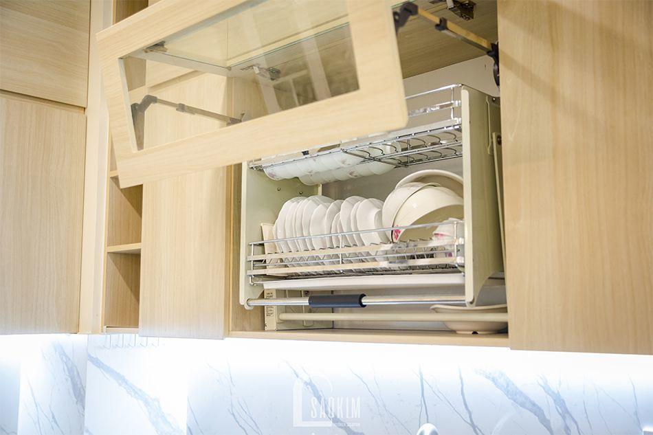 Hoàn thiện nội thất căn bếp trong mẫu thiết kế nhà chung cư đẹp 80m2 PCC1 Thanh Xuân
