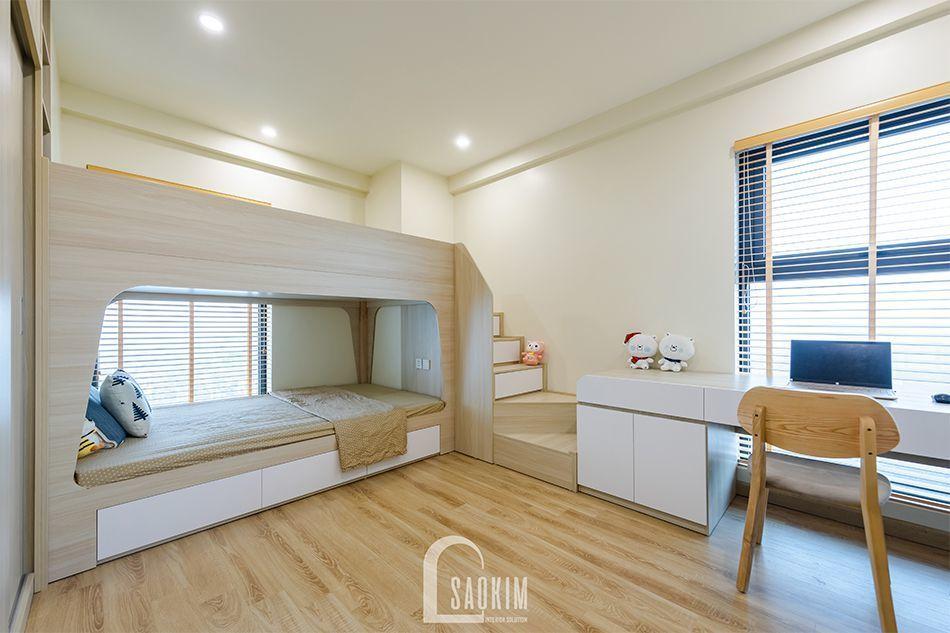 <em>Hoàn thiện nội thất phòng ngủ cho bé trong mẫu thiết kế nhà chung cư đẹp 80m2 PCC1 Thanh Xuân</em>