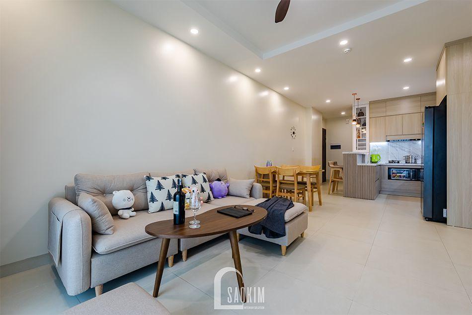 Không gian mở với phòng khách và phòng ăn liên thông nhau