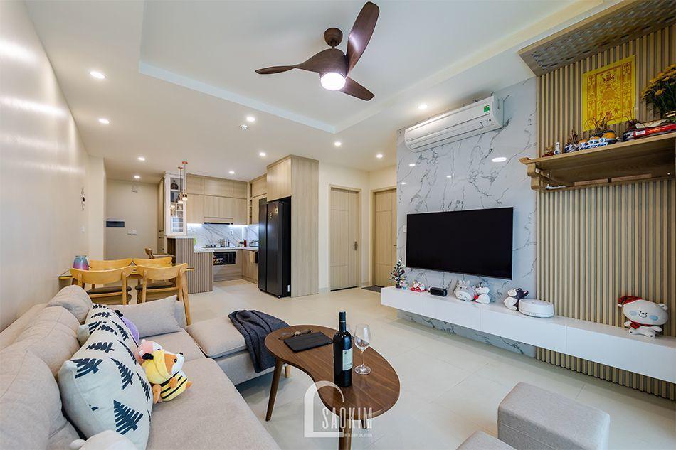 Hình ảnh hoàn thiện mẫu thiết kế nội thất nhà chung cư đẹp 80m2 PCC1 Thanh Xuân