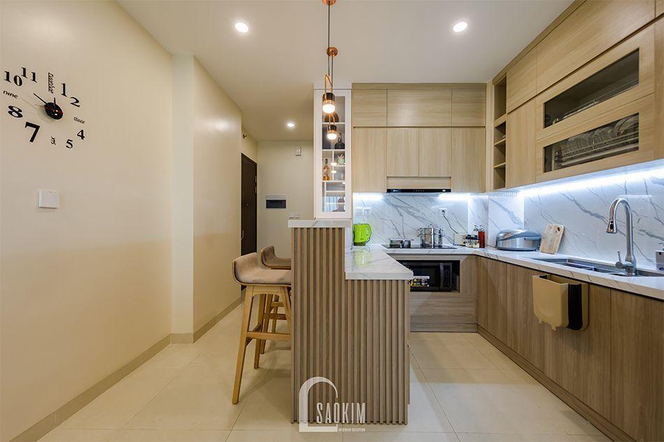 Căn bếp nhà chung cư đẹp 80m2 mang cảm giác sạch sẽ, tươi mát