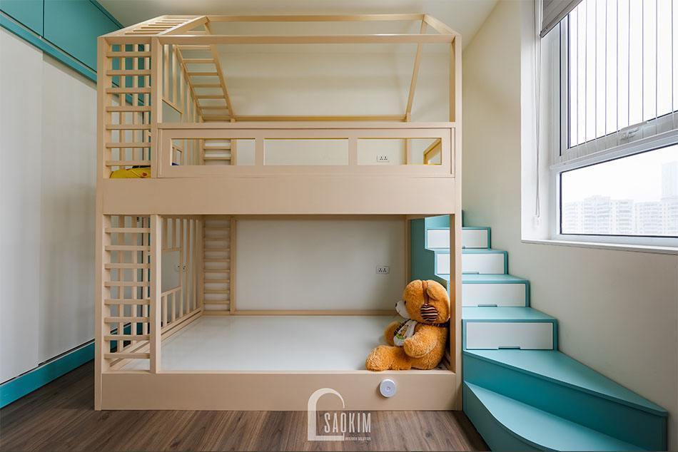 Hoàn thiện thi công phòng ngủ cho bé căn hộ khu đô thị Nam Trung Yên