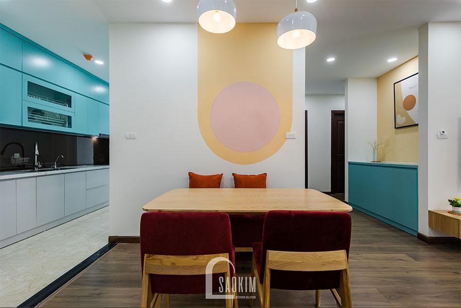 Hoàn thiện thi công căn hộ khu đô thị Nam Trung Yên với phòng ăn mang đậm phong cách Color Block