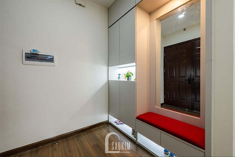 Hoàn thiện khu vực tiền sảnh trong mẫu thiết kế thi công căn hộ Nam Trung Yên