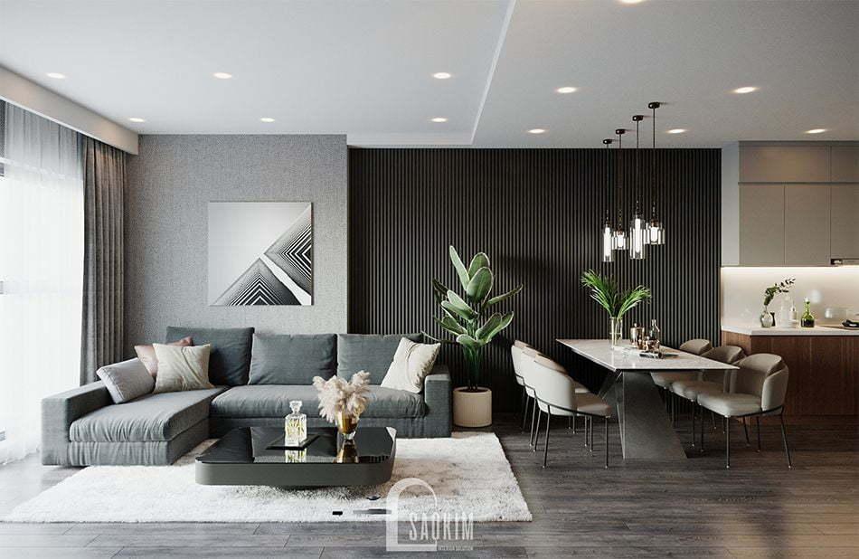 Mẫu thiết kế phòng khách căn hộ 3 phòng ngủ HPC Landmark 105 Tố Hữu