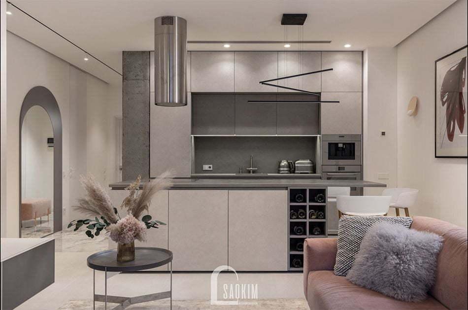 <em>Mẫu thiết kế căn hộ 3 phòng ngủ chung cư The K Park với phòng bếp tinh tế, sang trọng</em>