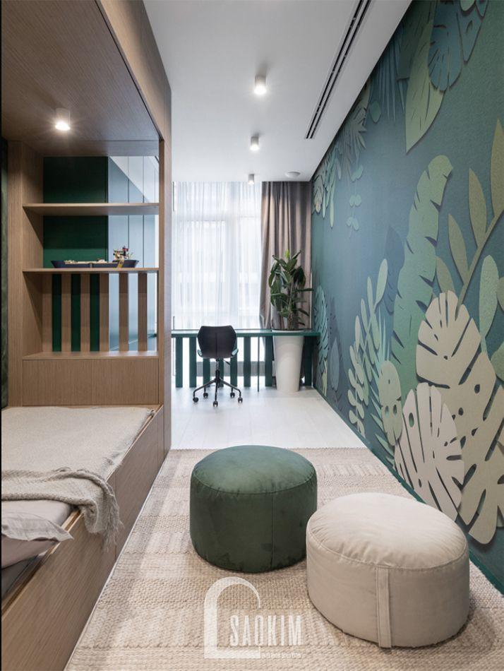 Không gian phòng ngủ kết hợp phòng làm việc