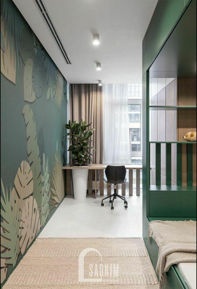 Gam màu xanh tạo điểm nhấn cho không gian trong mẫu thiết kế căn hộ 3 phòng ngủ