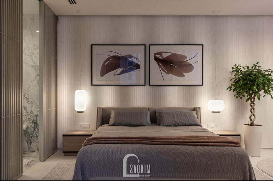 Không gian phòng ngủ Master căn hộ 84m2 chung cư The K Park