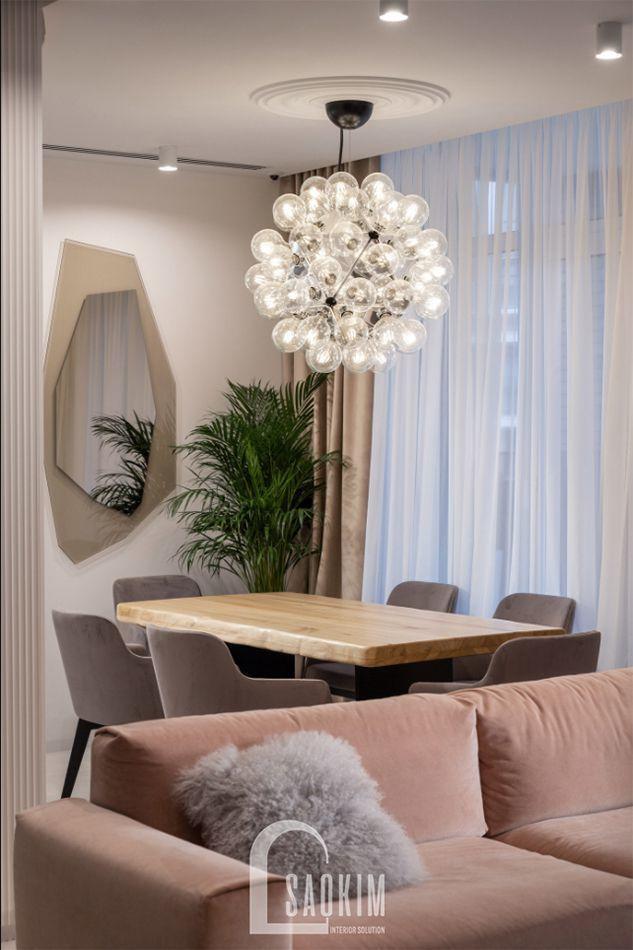 Không gian phòng ăn trong thiết kế căn hộ 3 phòng ngủ chung cư The K Park