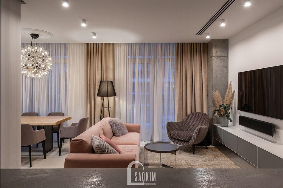 Không gian phòng khách trong mẫu thiết kế căn hộ 3 phòng ngủ chung cư The K Park