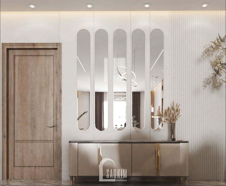 Mẫu thiết kế không gian mở căn hộ 84m2 2 phòng ngủ chung cư The Zei