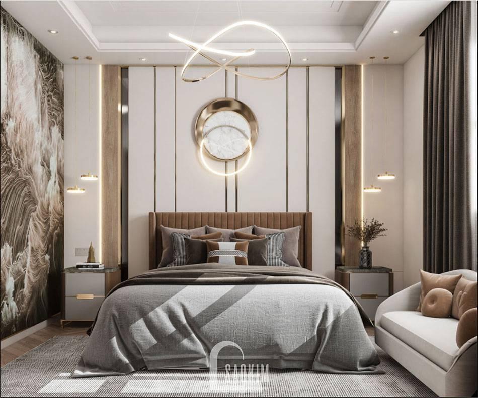 Mẫu thiết kế phòng ngủ Master căn hộ 84m2 2 phòng ngủ chung cư The Zei