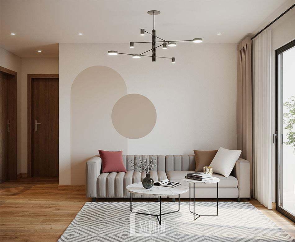 Mẫu thiết kế thi công căn hộ 84m2 chung cư Grand Sài Đồng với phòng khách rộng thoáng, tươi mát
