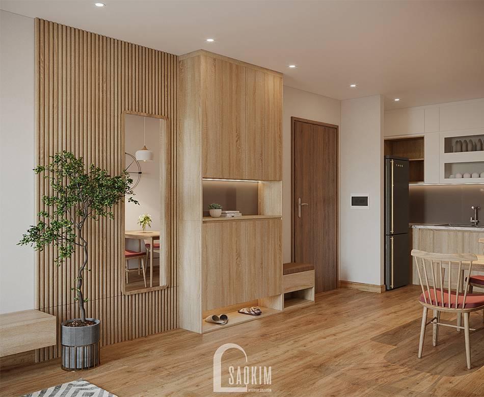 Không gian mở trong mẫu thiết kế thi công căn hộ 84m2 Grand Sài Đồng