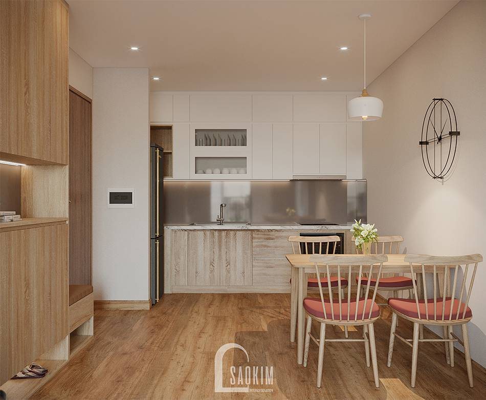 Mẫu thiết kế thi công căn hộ 84m2 chung cư Grand Sài Đồng với phòng bếp tối giản, hiện đại