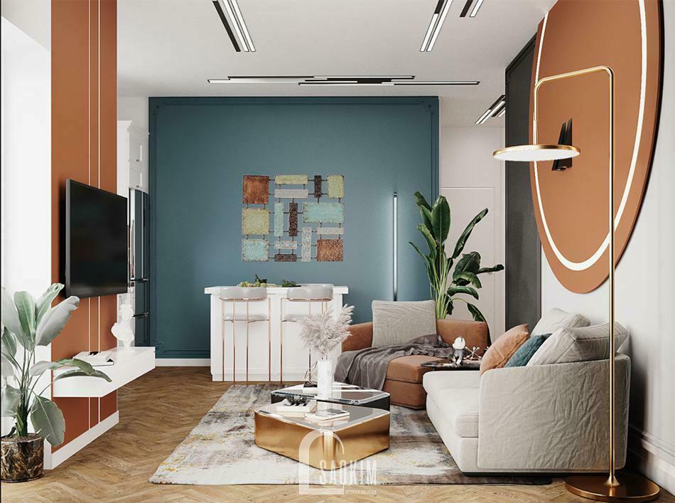 Không gian phòng khách sang trọng, hiện đại với phong cách Color Block