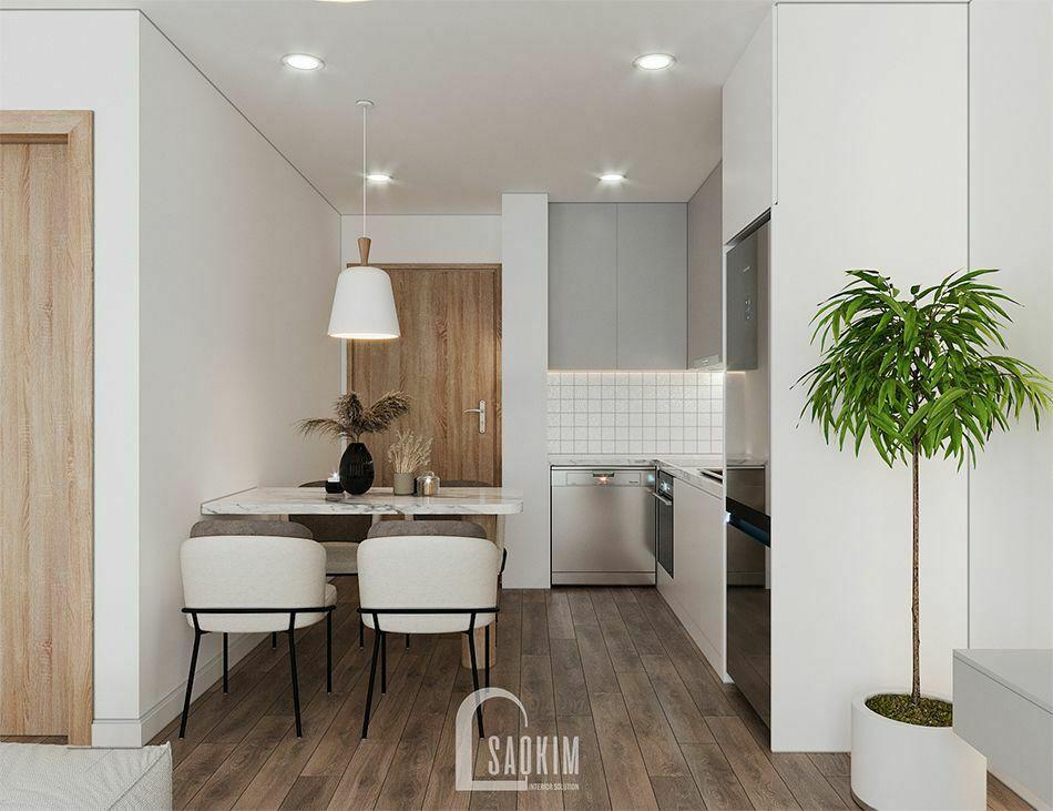 Mẫu thiết kế căn hộ 65m2 chung cư Vinhomes Smart City với không gian phòng ăn ấm cúng, bình yên