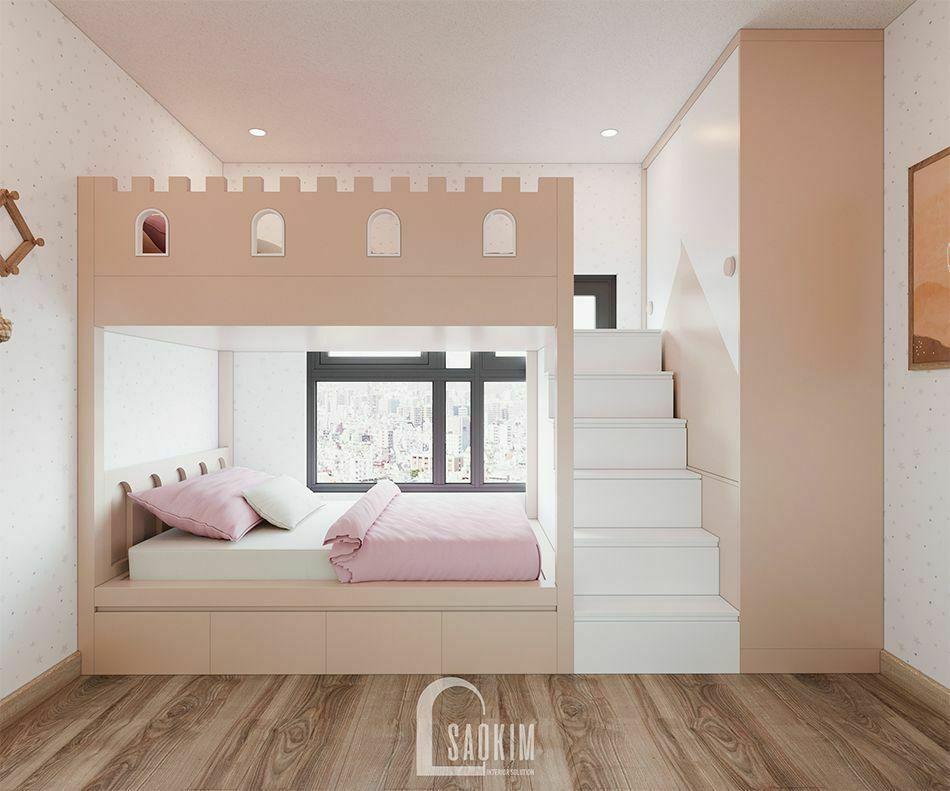 Không gian phòng ngủ cho bé trong mẫu thiết kế căn hộ 65m2 chung cư Vinhomes Smart City