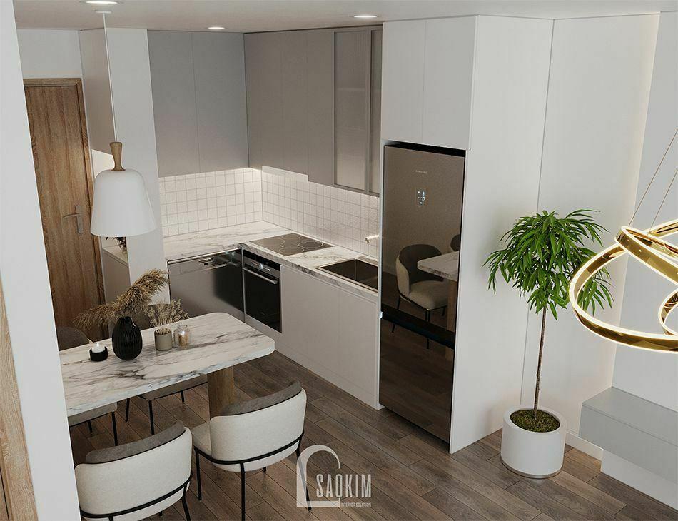 Không gian phòng ăn và bếp trong mẫu thiết kế căn hộ 65m2 chung cư Vinhomes Smart City