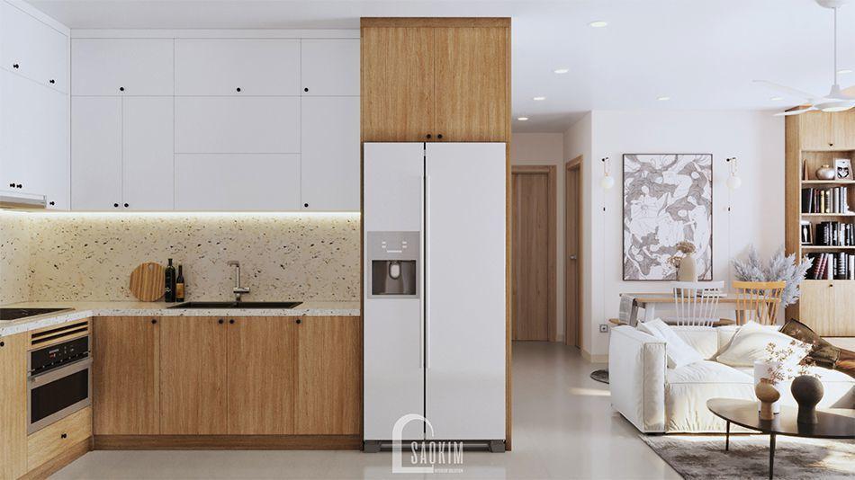 Không gian phòng bếp trong mẫu thiết kế nội thất căn hộ 70m2 Vinhomes Ocean Park