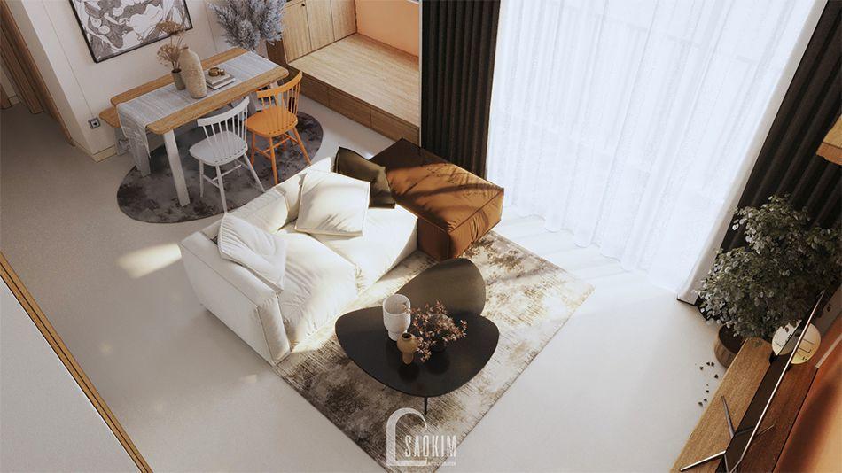 Không gian sinh hoạt chung trong mẫu thiết kế nội thất căn hộ 70m2