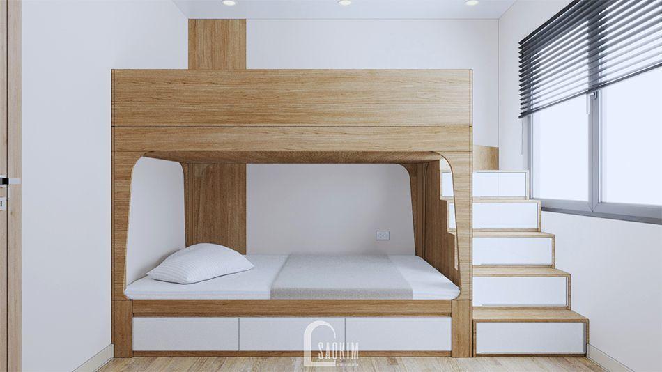 Không gian phòng ngủ 2 trong mẫu thiết kế nội thất căn hộ 70m2 Vinhomes Ocean Park