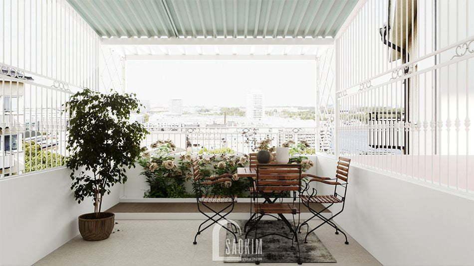 Mẫu thiết kế nội thất nhà phố 3 tầng Long Biên với không gian tầng thượng ngập tràn sức sống và tươi mới
