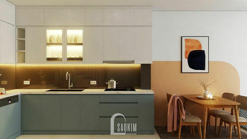 Mẫu thiết kế nội thất nhà phố 3 tầng Long Biên với phòng ăn và bếp nối liền nhau