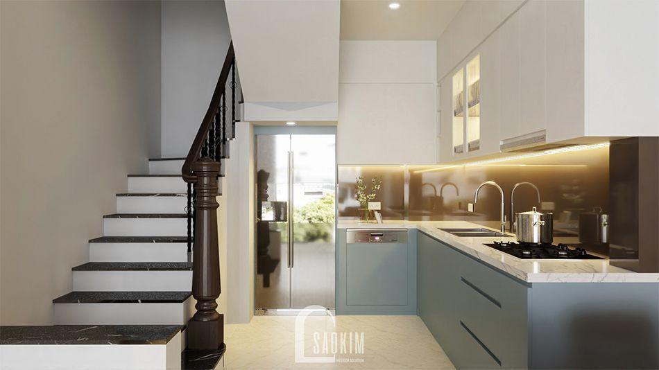 Mẫu thiết kế nội thất phòng ăn và bếp nhà phố 3 tầng Long Biên