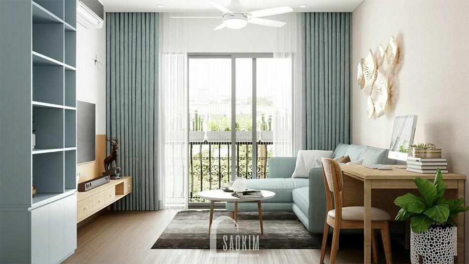Mẫu thiết kế nội thất nhà phố 3 tầng Long Biên với phòng khách nhã nhặn, thanh lịch