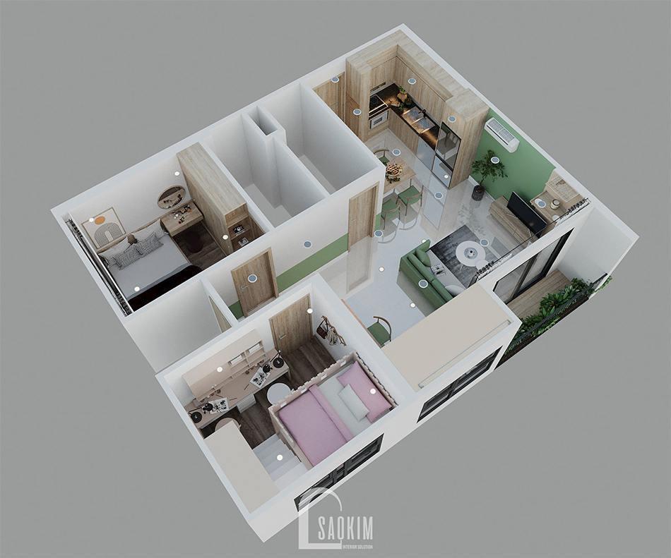 Mặt bằng 3D mẫu thiết kế căn hộ 2 phòng ngủ + 1 Vinhomes Ocean Park 65m2