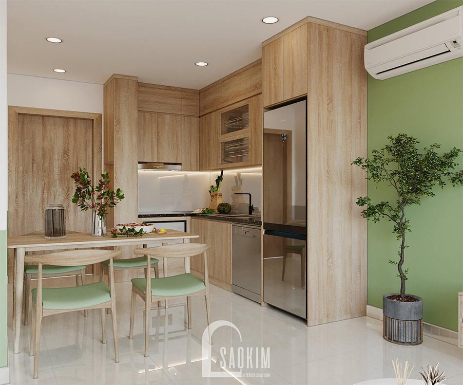 Mẫu thiết kế phòng bếp căn hộ 2 phòng ngủ + 1 Vinhomes Ocean Park 65m2