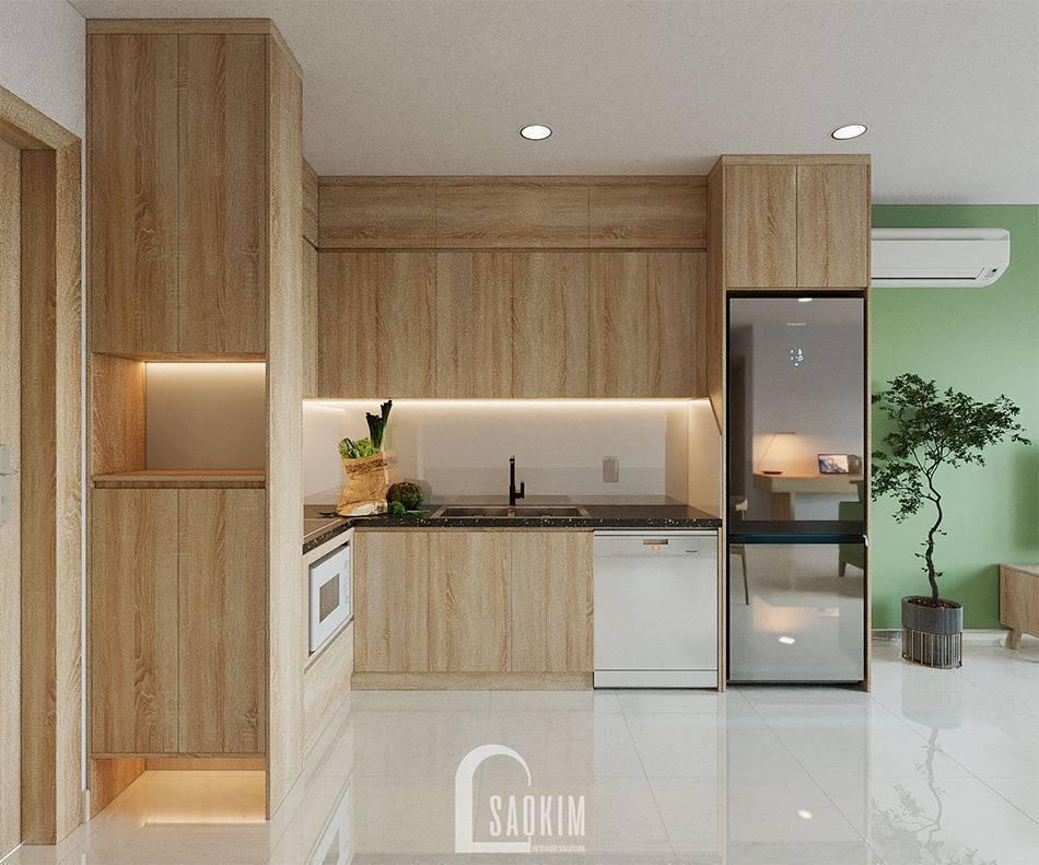 Không gian phòng bếp ấm cúng nhờ vật liệu gỗ