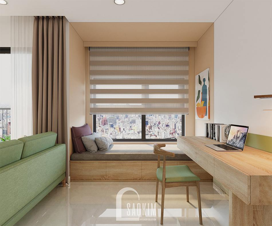 Khu cộng 1 của căn hộ là nơi làm việc và thư giãn
